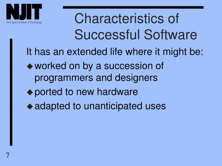 Characteristics of Successful Software