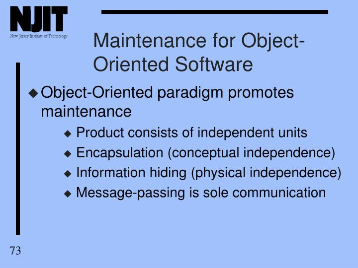 Maintenance for Object-Oriented Software