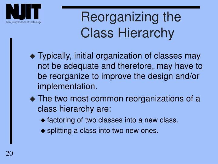 Reorganizing the Class Hierarchy
