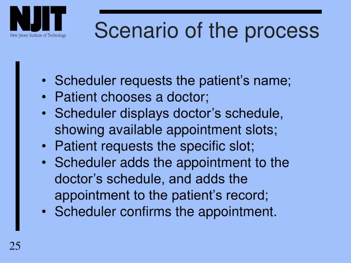 Scenario of the process