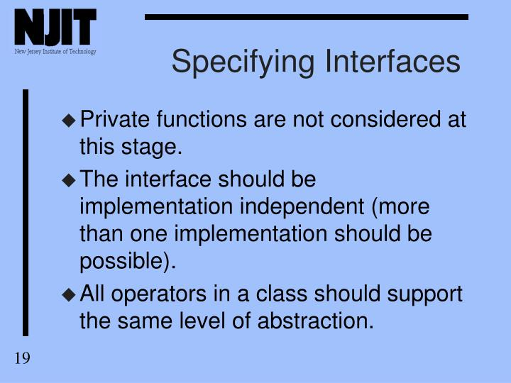 Specifying Interfaces