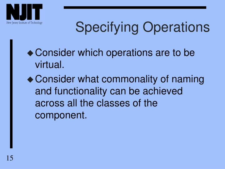 Specifying Operations