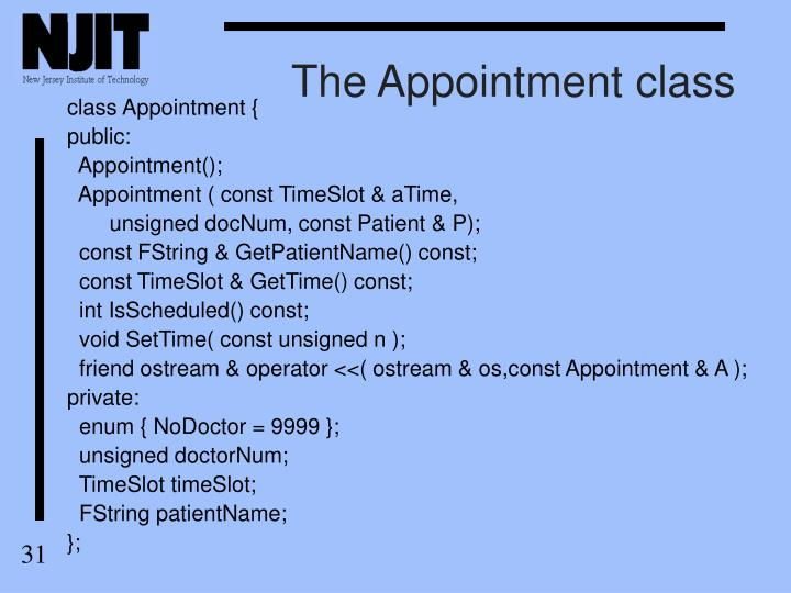 The Appointment class