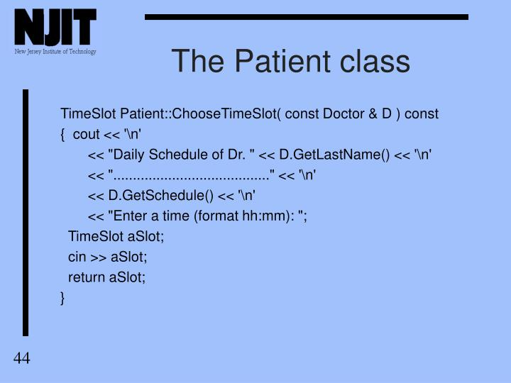 The Patient class