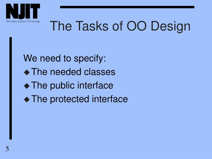 The Tasks of OO Design