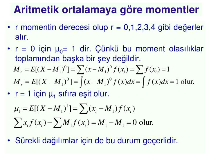 Aritmetik ortalamaya göre momentler