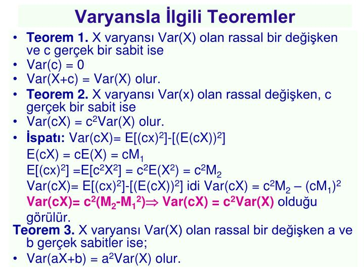 Varyansla İlgili Teoremler