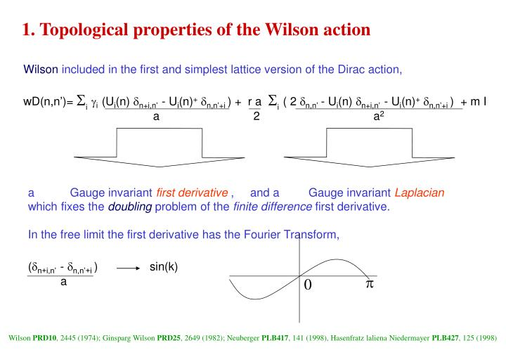 1. Topological properties of the Wilson action