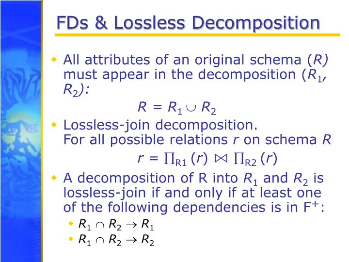 FDs & Lossless Decomposition