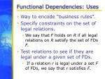 functional dependencies uses