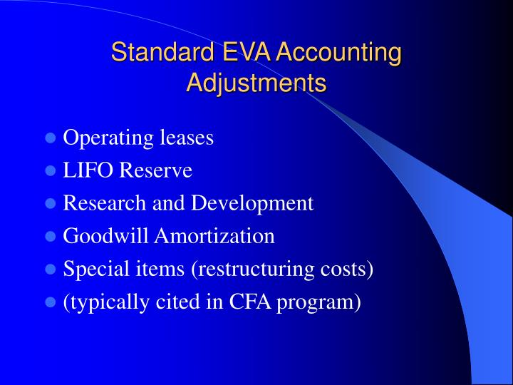 Standard EVA Accounting Adjustments