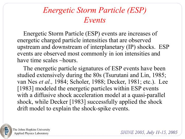 Energetic Storm Particle (ESP) Events