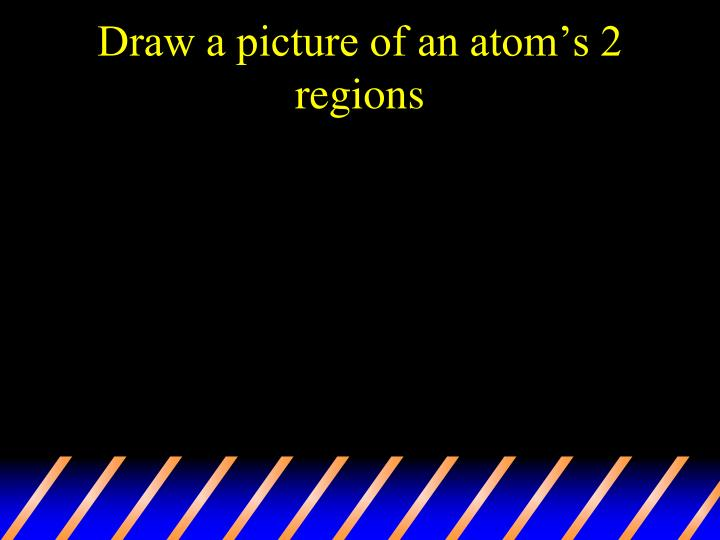 Draw a picture of an atom's 2 regions