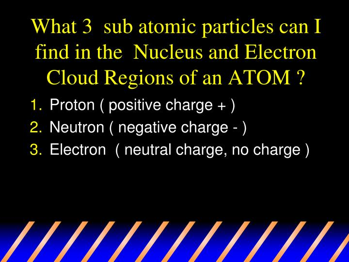 What 3  sub atomic particles can I find in the  Nucleus and Electron Cloud Regions of an ATOM ?