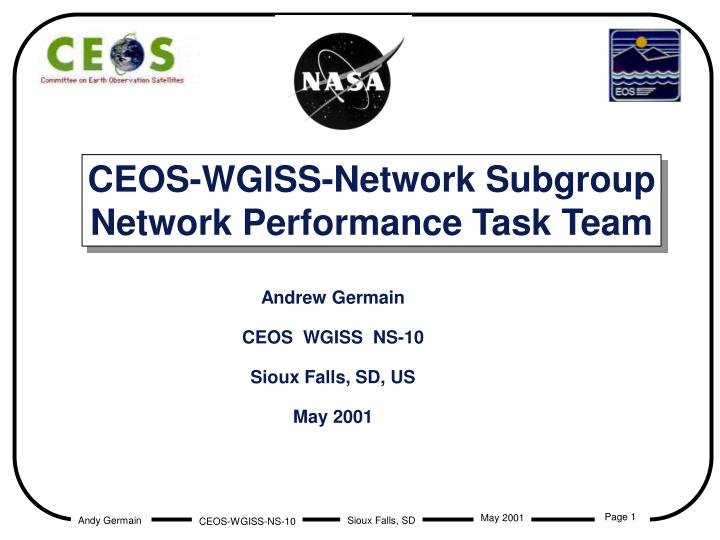 Ceos wgiss network subgroup network performance task team