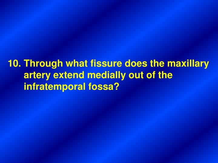 Through what fissure does the maxillary