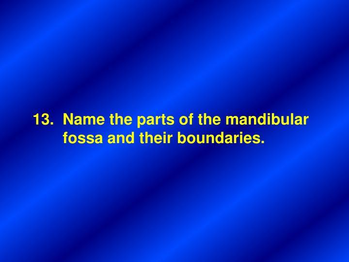 Name the parts of the mandibular
