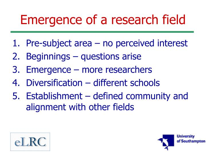 Emergence of a research field