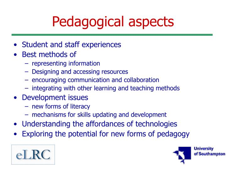 Pedagogical aspects
