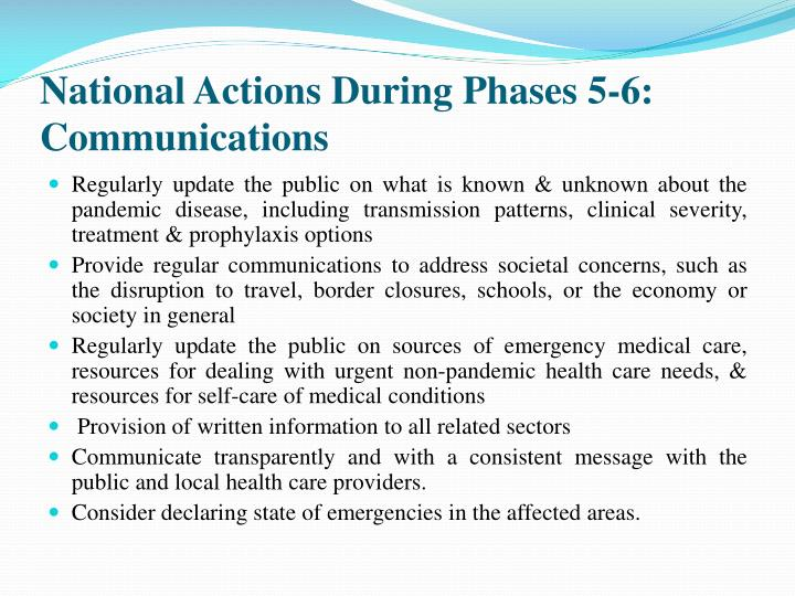 National Actions During Phases 5-6: