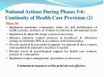 national actions during phases 5 6 continuity of health care provision 2