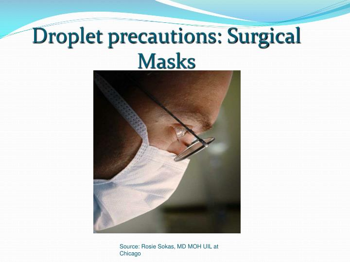 Droplet precautions: Surgical Masks