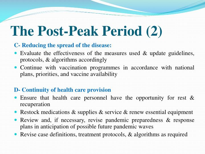 The Post-Peak Period (2)