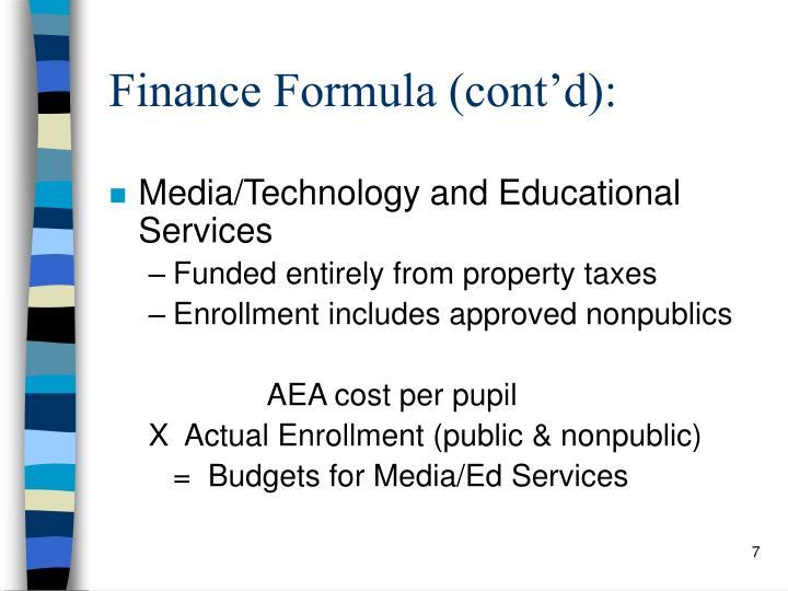 Finance Formula (cont'd):