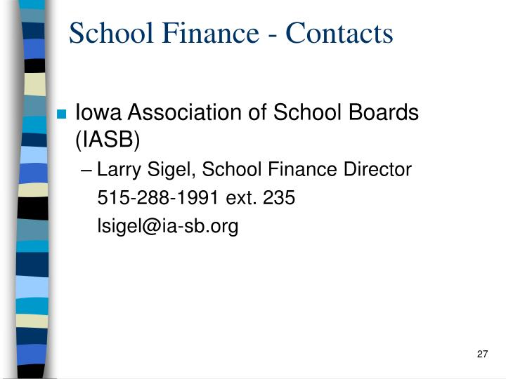 School Finance - Contacts