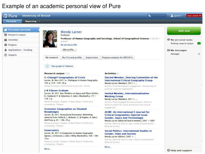 Example of an academic personal view of Pure
