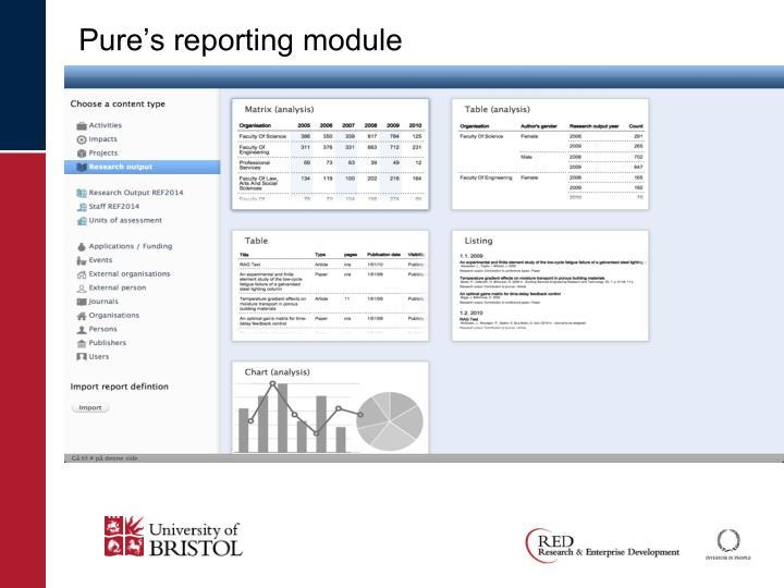 Pure's reporting module