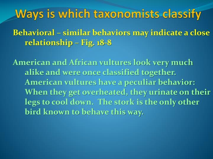 Behavioral – similar behaviors may indicate a close relationship – Fig. 18-8