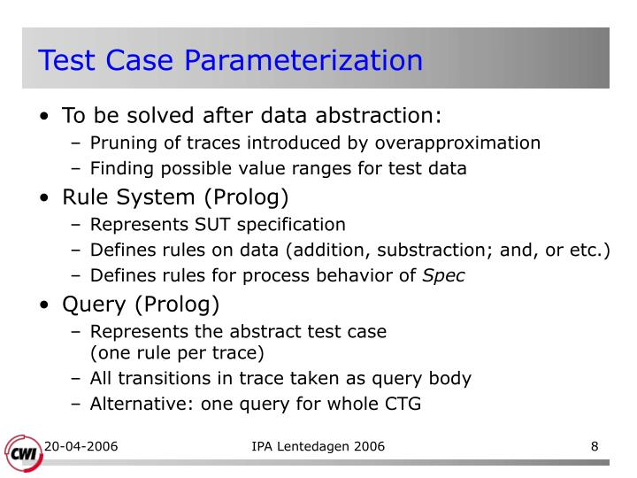 Test Case Parameterization