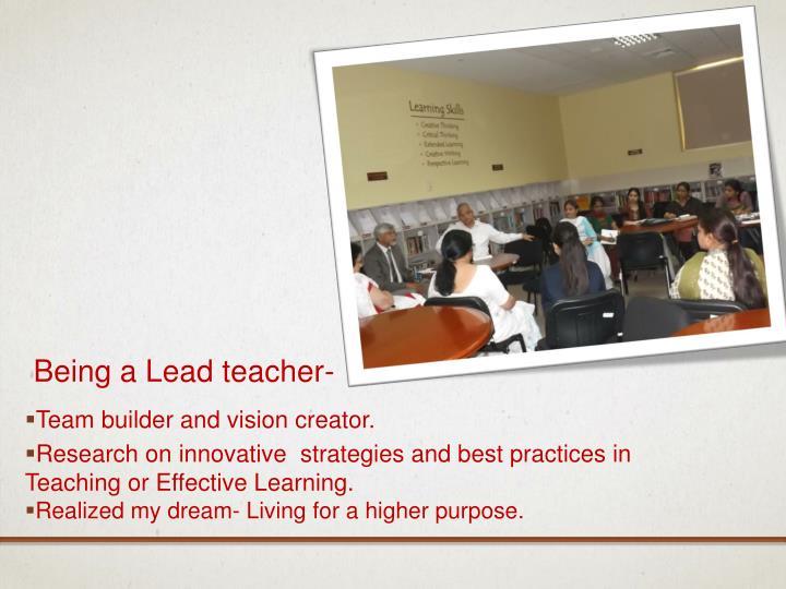 Being a Lead teacher-