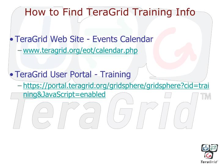 How to Find TeraGrid Training Info