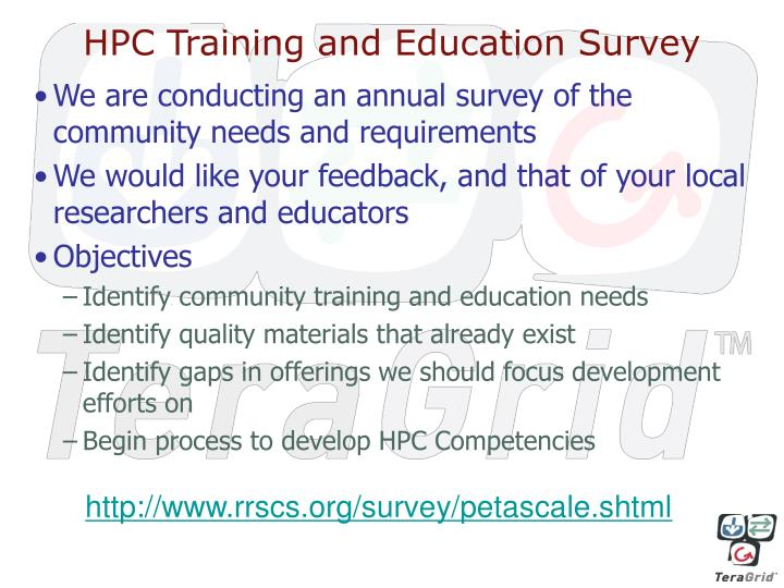 HPC Training and Education Survey