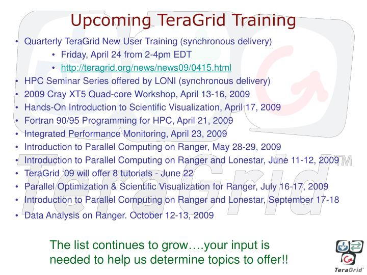 Upcoming TeraGrid Training