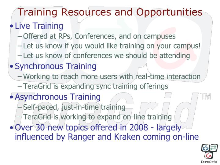 Training Resources and Opportunities
