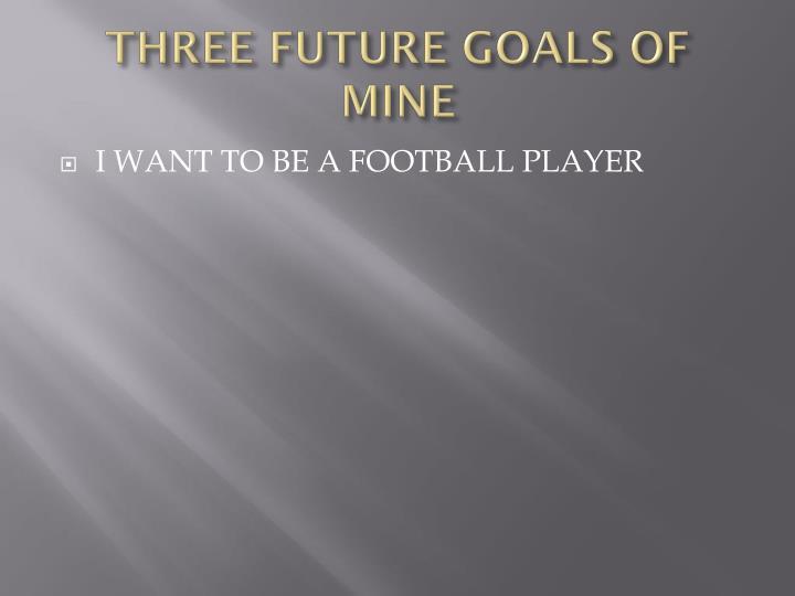 THREE FUTURE GOALS OF MINE