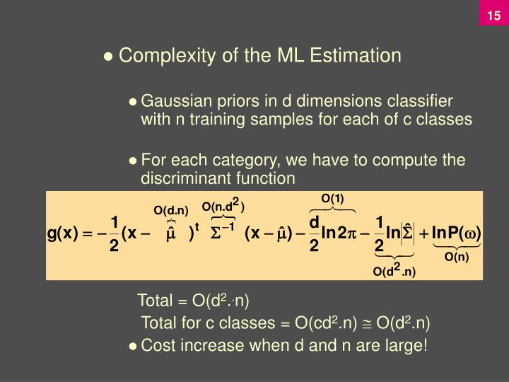 Complexity of the ML Estimation