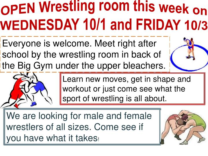 OPEN Wrestling room this week on WEDNESDAY 10/1 and FRIDAY 10/