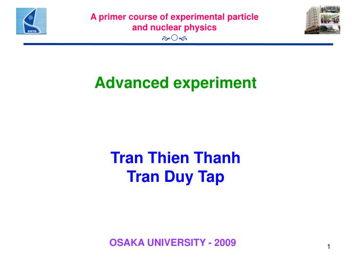 A primer course of experimental particle