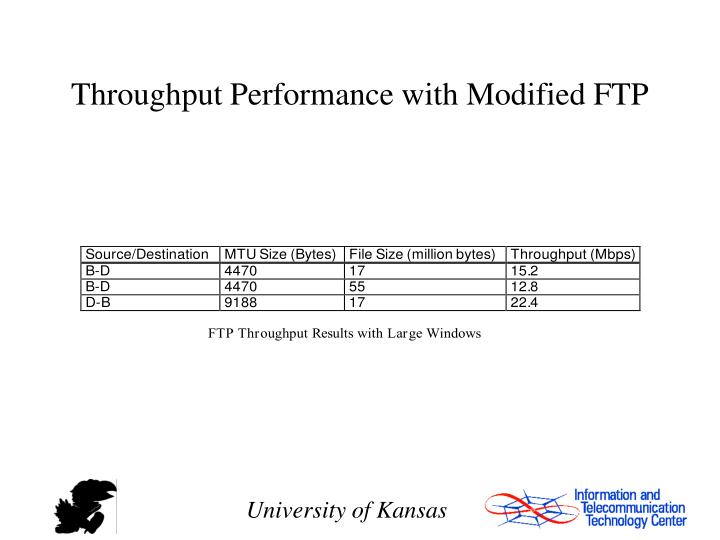 Throughput Performance with Modified FTP