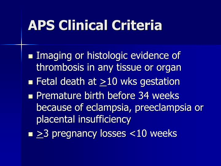 APS Clinical Criteria