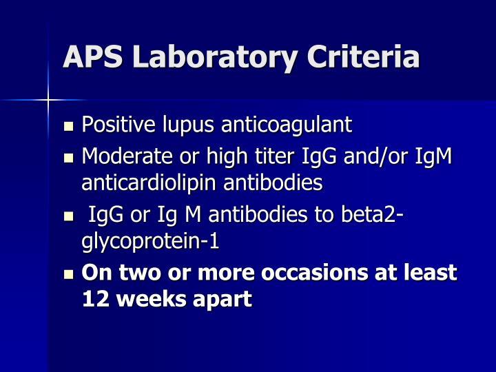 APS Laboratory Criteria