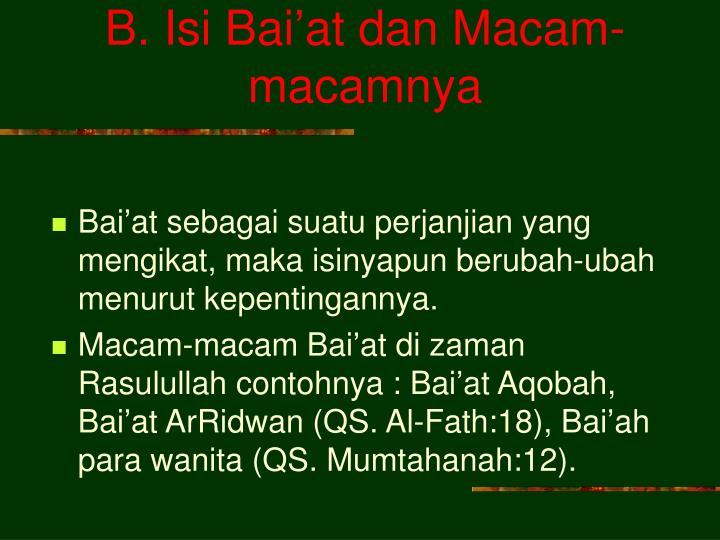 B. Isi Bai'at dan Macam-macamnya