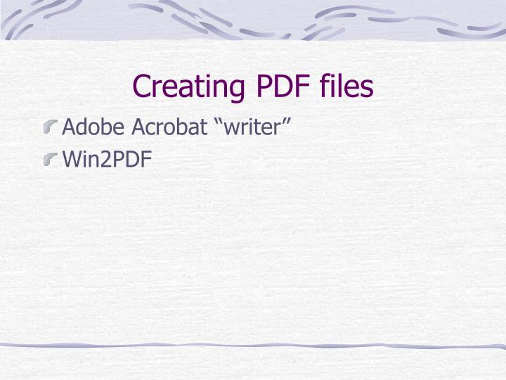 Creating PDF files