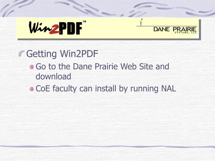 Getting Win2PDF