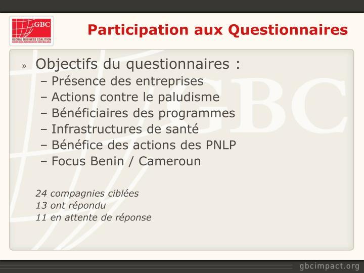 Participation aux Questionnaires