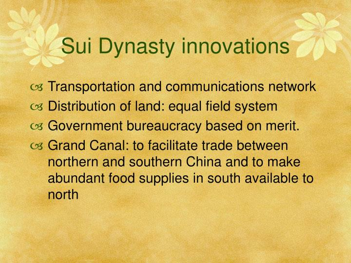 Sui Dynasty innovations